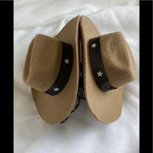 2 Cowboy Hats for Dog Size M/L Brown Star Western